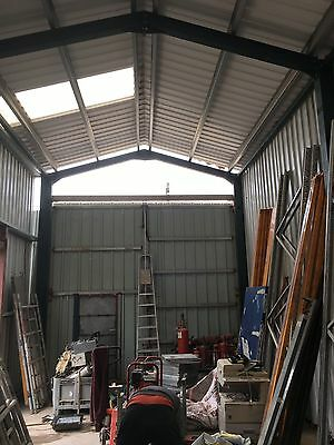 STEEL FRAMED BUILDING L30ft X W16ft X H16ft EVES COMPLETE WITH CLADDING & DOORS