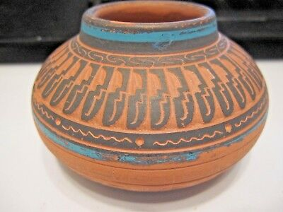 Navajo Clay Pot by Dennis Charlie numbered