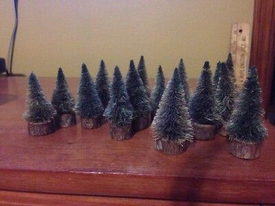 """Lot of 16 Miniature Vintage Inspired Bottle Brush Christmas Trees 3"""" To 2.5"""""""
