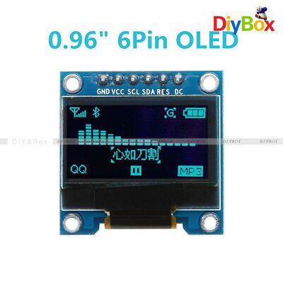 "0.96"" 6Pin 128×64 SPI&IIC I2C Blue OLED Display Module For Arduino Raspberry Pi"
