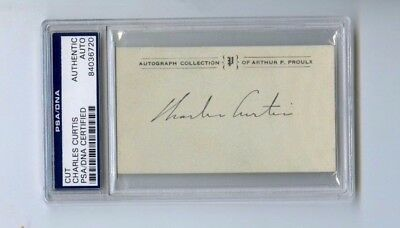 Charles Curtis 31st VP Herbert Hoover Cut Autographed Card PSA/DNA Authentic