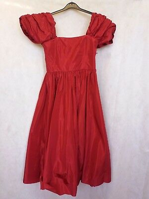 Z816 Women's Laura Ashley Bnwt Red Carnation Vintage Dress Uk Xl 14