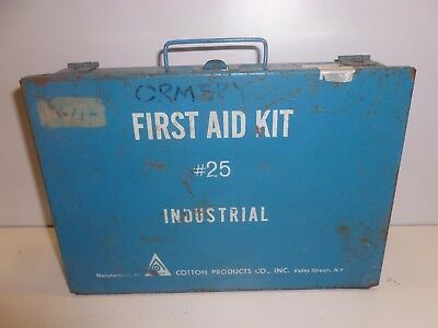 Vtg Old Industrial Metal First Aid Kit Box Cotton Wall Mount Medical Collectible