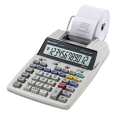 Sharp EL-1750V Two-Color (Black / Red) Printing Calculator Print 2 Lines/Sec