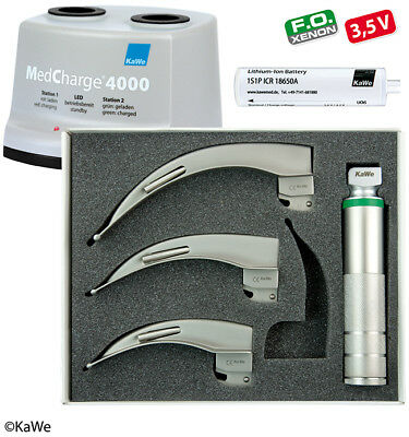 KaWe Laryngoscope Set for Adults with charging station and 3 blades Macintosh