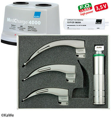 KaWe Laryngoscope LED Set for Adults with charging station and 3 blades Mac