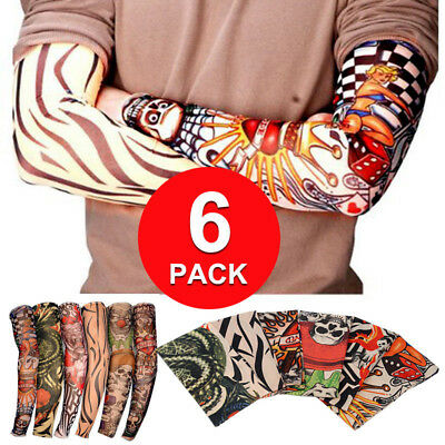 [6 Pack] Fake Nylon Temporary Tattoo Sleeves Arm Stockings For Cool Men