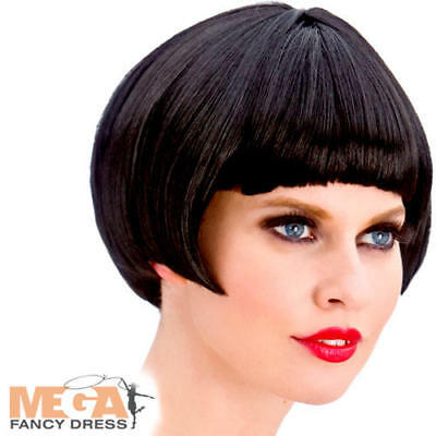 Black 1920s Flapper Wig Ladies Fancy Dress Charleston Adults Costume Accessory
