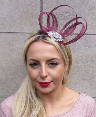 Wine Burgundy Red Silver Diamante Sinamay Net Fascinator Races Headband 4484