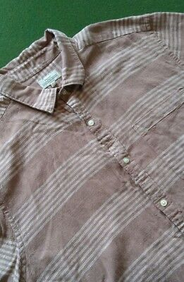 Mens Next Short Sleeve Terracotta Striped Shirt Chest 42'' ( Large )