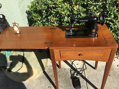 Working Singer antique old sewing machine With built in collapsible Table