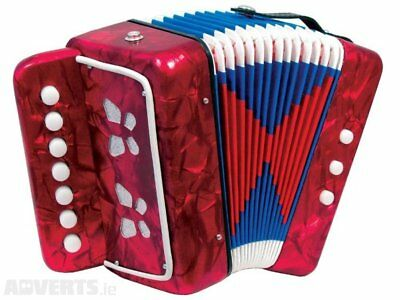 Kids Accordion Martini Musical Instrument Seven Button Christmas Gifts Red
