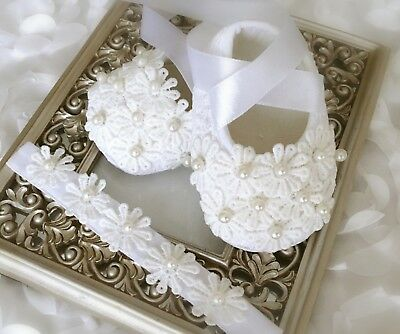 Christmas Baby Girl White Christening Shoes Crochet Lace Flowers Pearls Headband