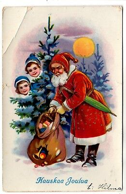 1923 RED ROBE SANTA w UBMRELLA !!  in FOREST CHRISTMAS ANTIQUE POSTCARD FINLAND
