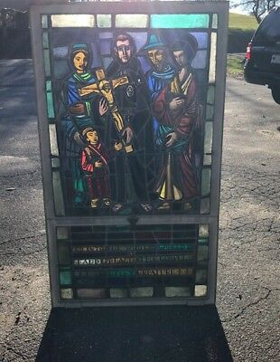 """Vintage Antique Stained Glass Window From Monastery 1920s 32""""x 47"""""""