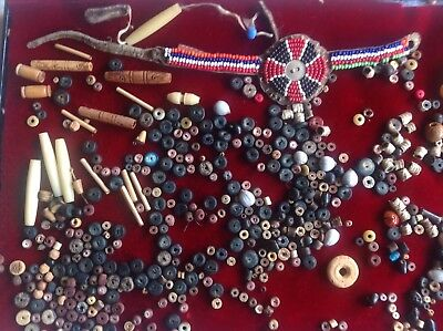 300+ INDIAN BEADS includes OLD TANNED LEATHER BRACELET: stone, clay, bone BEADS