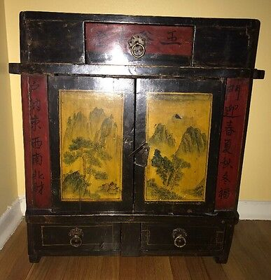 Asian Portable Shrine / Ancestrial Altar Wooden Cabinet Free Std or Wall Mount