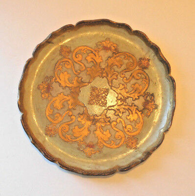 Pretty Embossed Gold & Green Italian Florentine Wood Tole Tray Plate-Italy