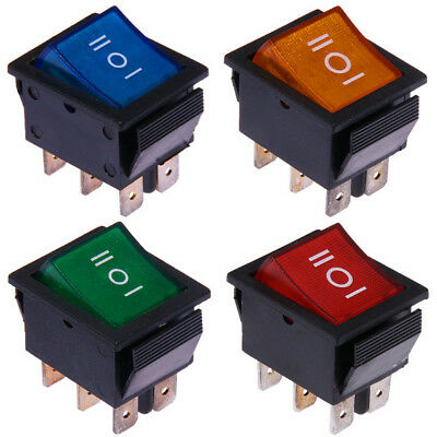 3-positions Illuminated 12V & 230V On-Off-On Rocker Switch Red Blue Green Yellow