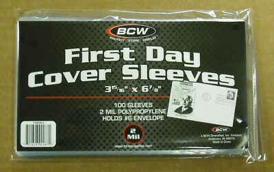Bcw: 200 #6 First Day Cover Poly Sleeves - 2 Mil    Free Shipping   #Bcw-Fdcslv6