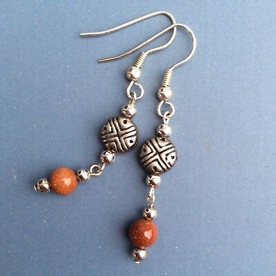 Goldstone long dangly earrings. Silver plated Irish made jewellery gift craft