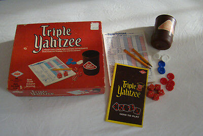 1973 Vintage Triple Yahtzee w/ Score Sheet Cards & Directions 391701
