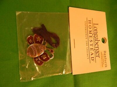 NIP Longaberger Danforth Pewter Tie-On Ornament RED BEE RARE (BAG)