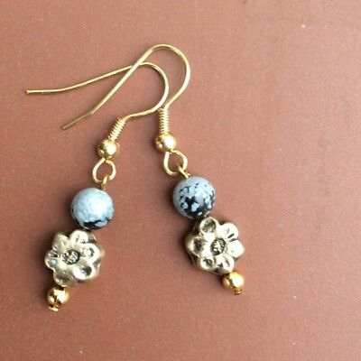 Snowflake Obsidian natural gemstone jewellery. Gold plated drop earrings. Irish