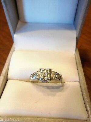 Antique Vintage Art Deco 14K White Gold Diamond Engagement Ring Size 4.25 (462)