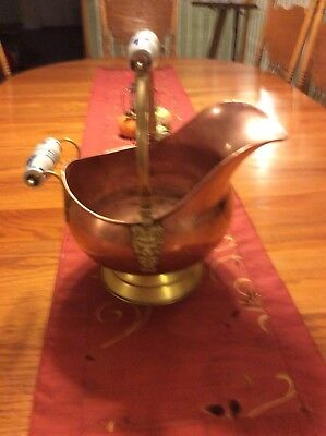 """VINTAGE COPPER / Brass Fireplace Bucket Coal Ash Scuttle - $64.95. Pre-Owned vintage copper / brass fireplace scuttle bucket for coal or ash. This Scuttle Bucket has brass Lion Head handle holders with White and Blue Porcelain Handles. The 6-3/4"""" dia base"""