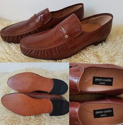 NEW Vintage Pierre Cardin Mens Shoes~Size 9~ All Leather Brown Loafers