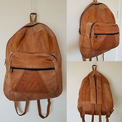 Vintage Genuine Leather Backpack~Large Patchwork Tan~ 1980s~ Mens or Womens