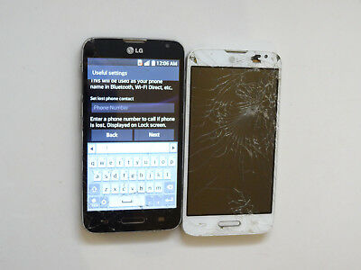Lot of 2 LG Optimus L70 MS323 MetroPCS Smartphones AS-IS Cracked GSM