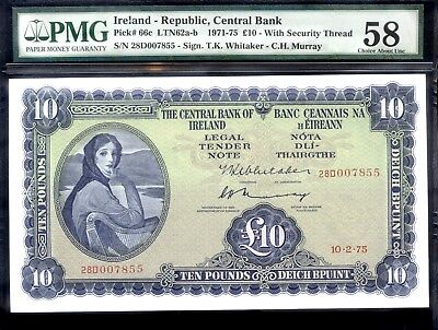 bucksless 2023: PMG58 IRELAND REPUBLIC 10 POUNDS 1975 , P-66c - GREAT BRITAIN