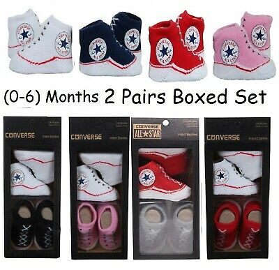 Infant Baby Allstar Converse Booties Slip On Socks 2 Pairs Gift Boxed 0-6 Months