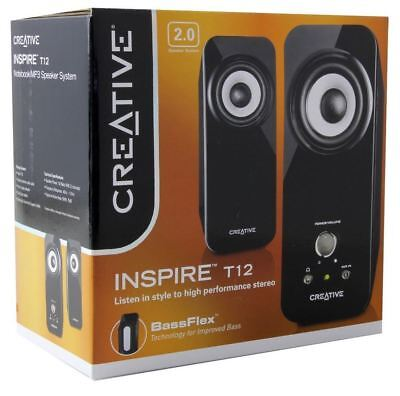 Creative Inspire T12 2.0 Multimedia Speaker System with Bass Flex Technology New