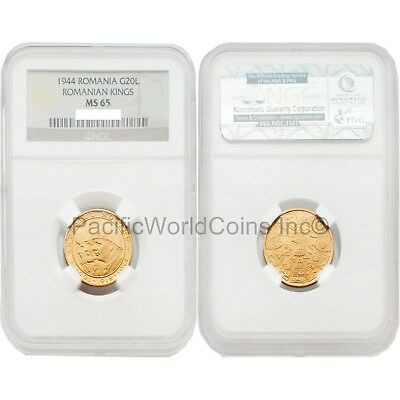 Romania 1944 Romanian Kings 20 Lei Gold NGC MS65 SKU#3355
