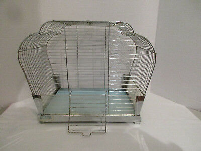 Vintage GENYK 40's 50's Chrome & Teal Hanging Wire Bird Cage