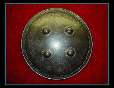 AUTHENTIC ANTIQUE INDO PERSIAN SILVER INLAID BATTLE / WAR DHAL SHIELD Armor