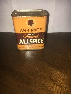Vintage Ann Page Ground All-Spice 2 oz spice tin, Great colors & graphics