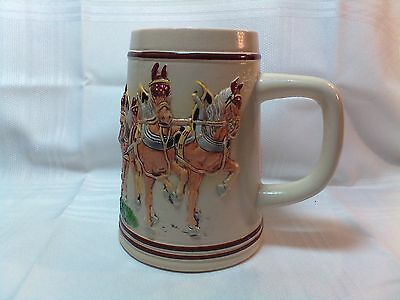 German Beer Mug With Eight Horses Pulling Beer Wagon - 0.5 Litre - Handpainted