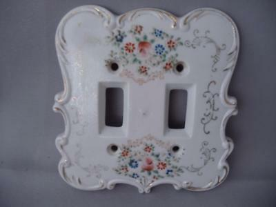 Antique Vtg Hand Painted Flowers Porcelain Double Light Wall Switch Plate Cover