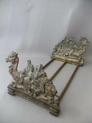Antique Vtg Solid Bronze Egyptian Camel Bookend Book Rack Holder