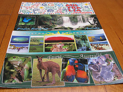 Four superview  - Australia Postcards - unused 330mm wide