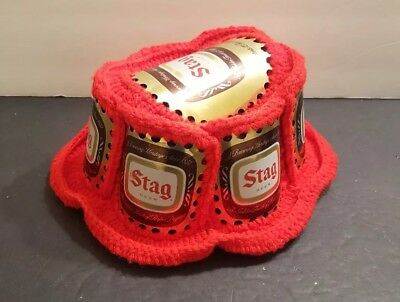 Vintage Hand Made Red Crochet Stag Beer Hat