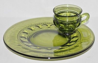 Indiana Glass Green Kings Crown Cup With 10\  Plate Snack Luncheon Set & VINTAGE Amber Kings Crown Luncheon Set Plate With Cup Holder Retro ...