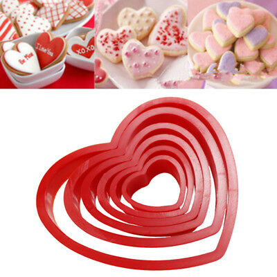 6x Cookie Biscuit Heart Shaped Cookie Icing Fondant Cake Decorating Cutter Set