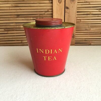 Vintage 40s 'INDIAN TEA' Tea BOARD India RED & Gold TEA TIN Canister ADVERTISING