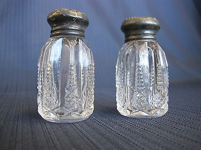 Vintage Cut Crystal 2 3/4 Inch Salt And Pepper Shakers