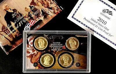 2010-S 4 pc. Presidential Dollar Set DC (Proof) with US Mint Box and COA